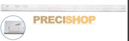 Acélvonalzó, A-form. 500/1,0mm  30x6mm,  DIN866  Helios-Preisser   0451201. alsó osztás;