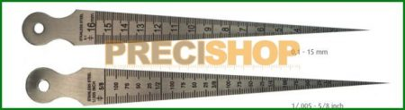 MIB 08084013 Furatmérő sablon; Mérési tartomány 0,1 - 15 mm (1/.005 - 5/8 inch)