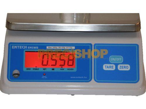 ENSWB-6 hitelesíthető, por és vízálló (IP65) tömegmérő mérleg, kétoldali LCD kijelzővel