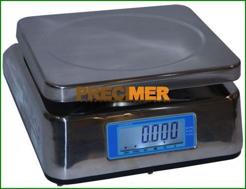 ENSWP-15 hitelesíthető, rozsdamentes acél, por és vízálló (IP65) tömegmérő mérleg, kétoldali LCD kijelzővel
