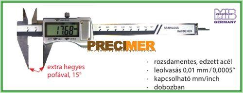 MIB 02026104 Digitális tolómérő 200 mm, fémházas extra hegyes pofával, 15°