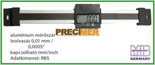 MIB 02026282 Digitális egypofás tolómérő 200 mm , Alumínium mérőszár, vízszintes kivitel