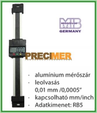 MIB 02026295 Digitális egypofás tolómérő 500 mm, Függőleges kivitel ,alumínium mérőszár
